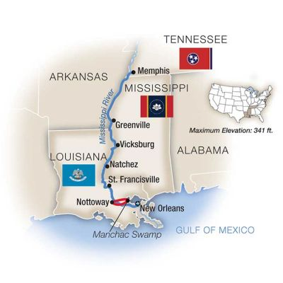 Map for Life on the Mississippi - Northbound