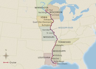 Map for America's Great River St. Paul to New Orleans