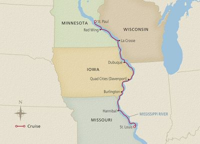 Map for America's Heartland St. Louis to St. Paul