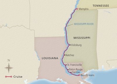 Map for Heart of the Delta New Orleans to Memphis