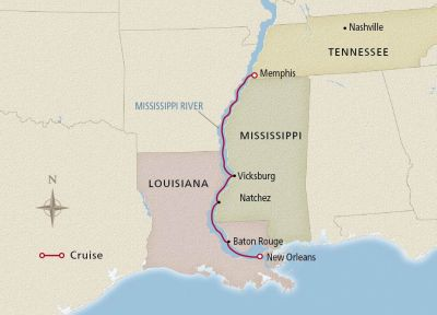 Map for Mississippi Holiday Season Memphis to New Orleans