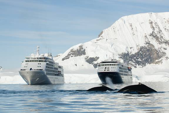 Meeting of two Silversea ships
